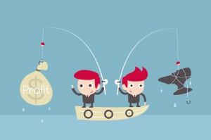 businessman challenge fishing.